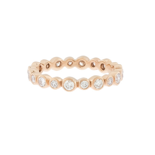 Rose Gold Bezel Diamond Wedding Band