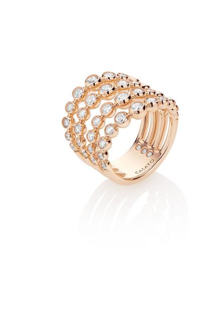 Casato Bezel Diamond Ring in Rose Gold 4 Row