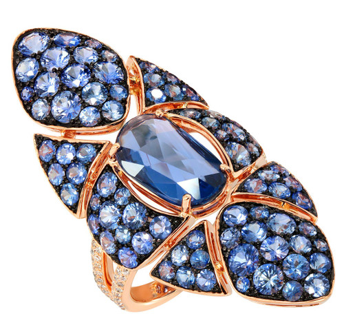 Etho Maria Blue Sapphire Ring in Rose Gold