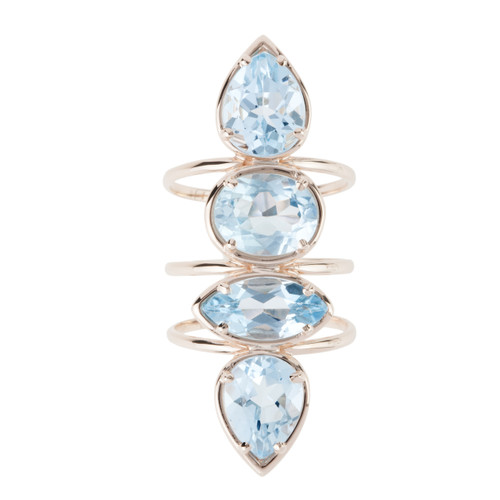 Etho Maria Blue Topaz Ring  in Rose Gold