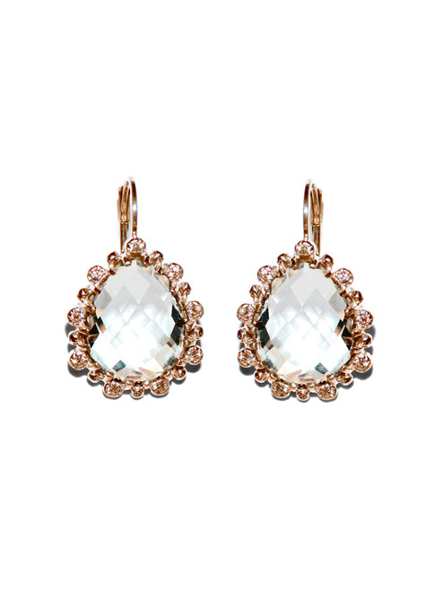 Anzie Dew Drop Étoile Pear Earrings |Clear Topaz & Rose Gold