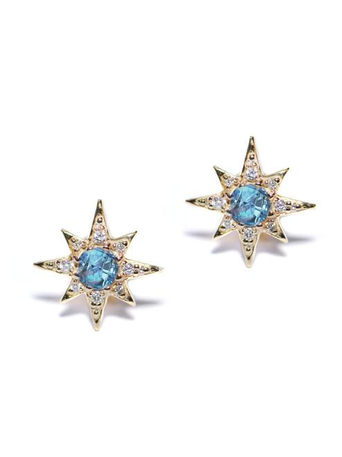 Anzie Mini Aztec Starburst Studs | Blue Topaz Earrings