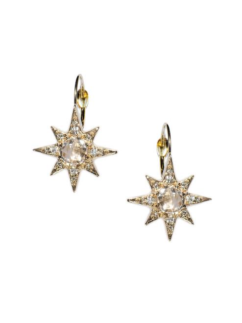 Mini Aztec Starburst Drops - Clear Topaz & Gold