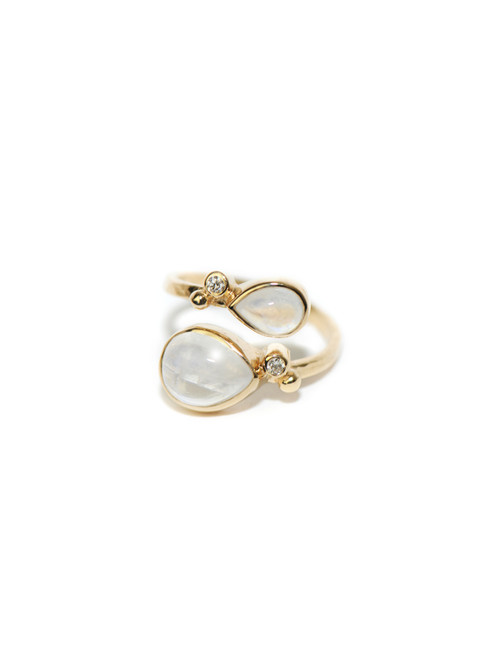 Anzie Classique Double Pear Moonstone Ring