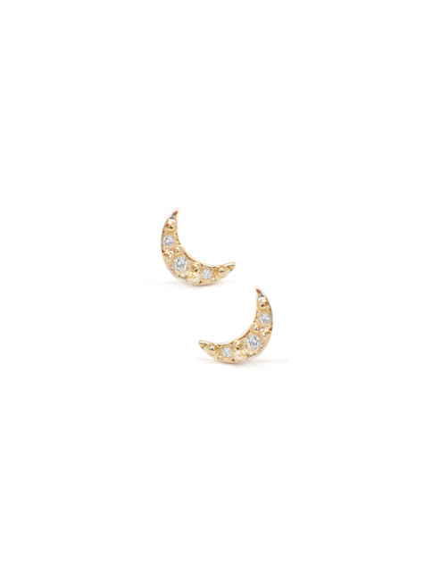 Anzie Aztec Moon Crescent Studs | Yellow Gold Studs