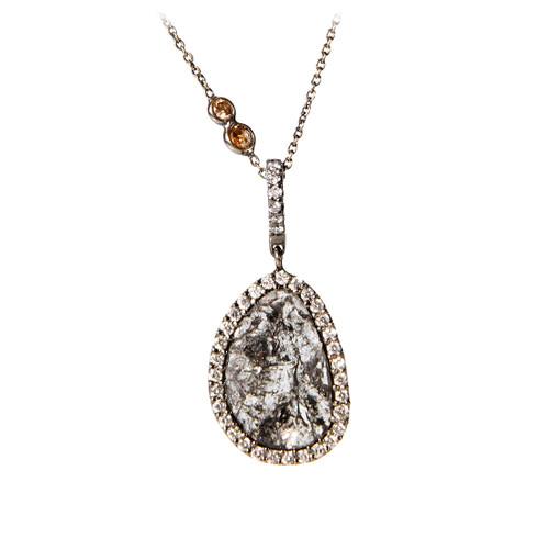 Diamond Slice Necklace on Champagne Diamond Chain