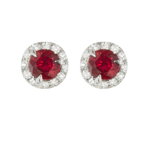 Ruby and Diamond Studs