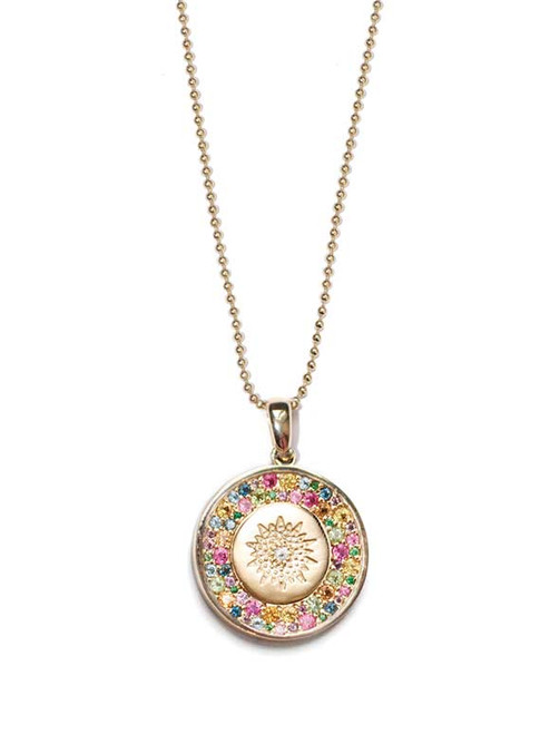 Multicolor Sapphire Medallion Necklace