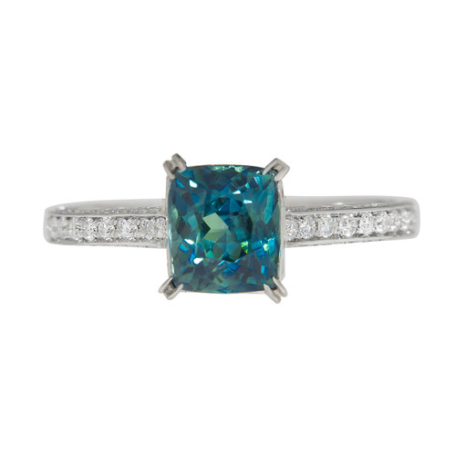 Greenish Blue Sapphire Engagement Ring