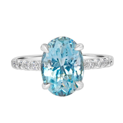 Aquamarine Ring  with Diamond Band