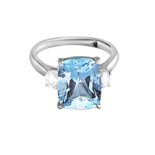 Aquamarine Three Stone Ring
