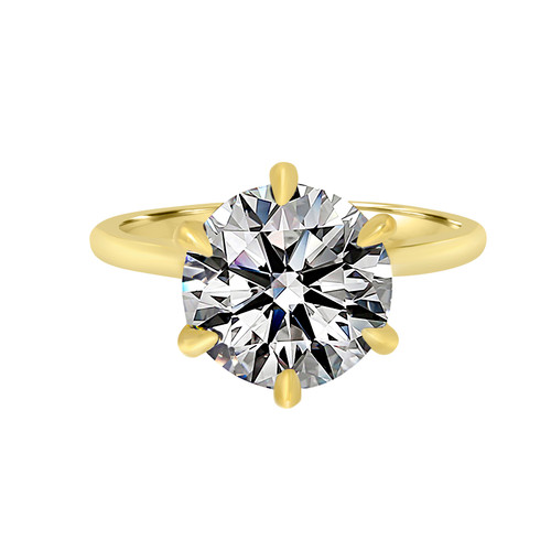 Yellow Gold Diamond Engagement Ring with Six Prong Basket