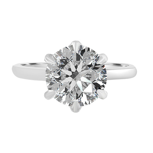 White Gold Diamond Engagement Ring with Six Prong Basket