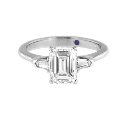 Emerald Cut Engagement Ring with Bullets