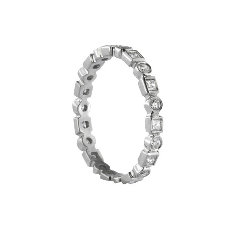 Platinum Eternity Band with Squares and Rounds