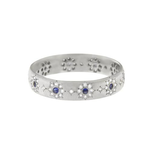 Sapphire and Diamond Shimmer Wedding Band