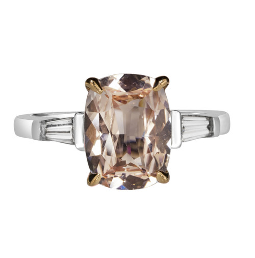 Peach Sapphire Engagement Ring with Baguettes