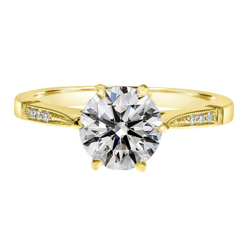 Yellow Gold Six Prong Diamond Engagement Ring