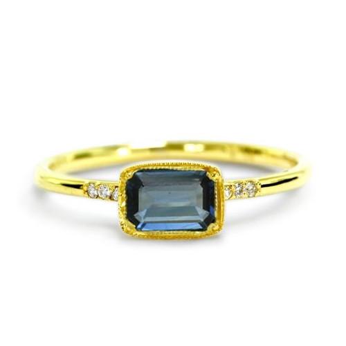Blue Sapphire Emerald Cut Ring