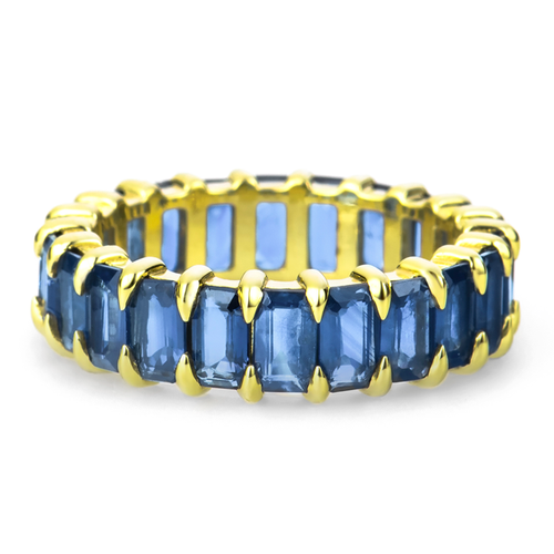 Sapphire Eternity Band in Yellow Gold