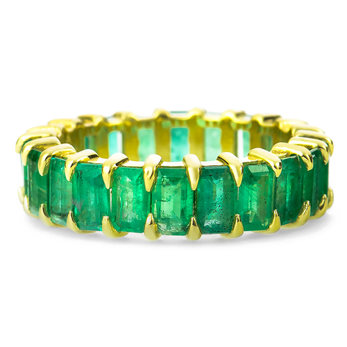 Emerald Eternity Band in Yellow Gold
