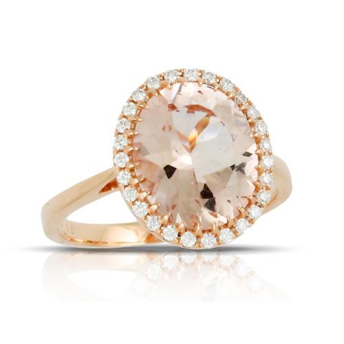 Morganite Oval Ring in Rose Gold