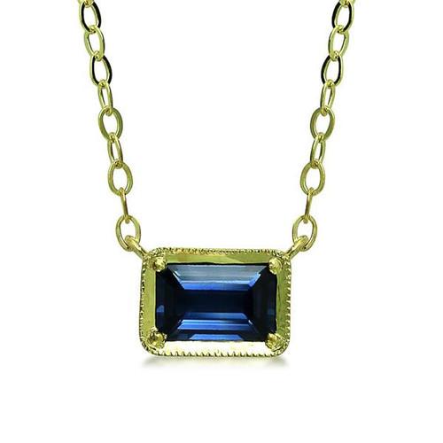 Blue Sapphire Emerald Cut Pendant
