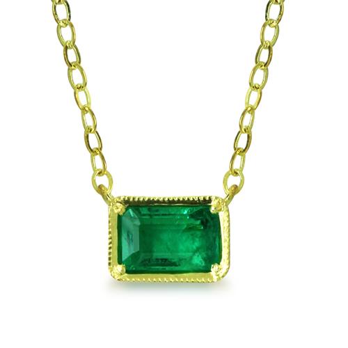 Emerald Cut Emerald Necklace