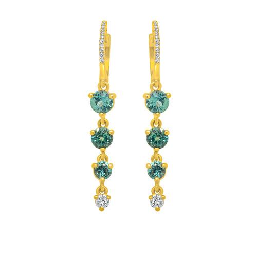 Teal Sapphire Drop Earrings