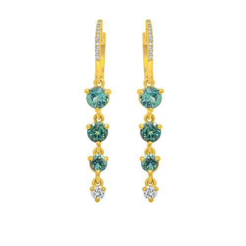 Teal Sapphire Drop Earrings
