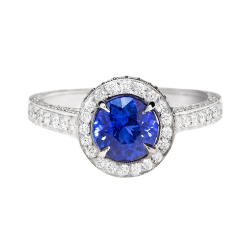 Blue Sapphire Vintage Halo Engagement Ring