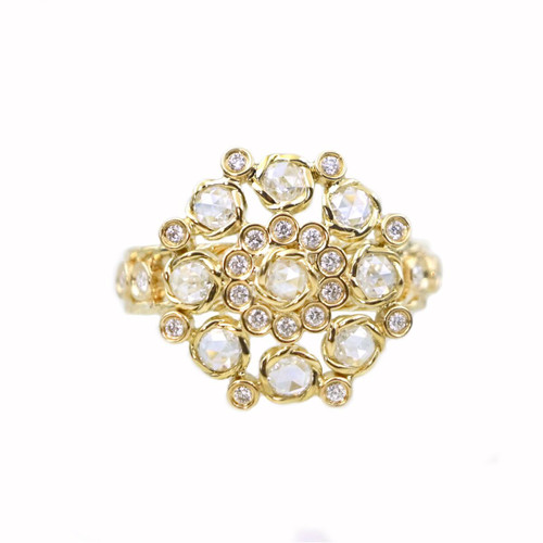 Rose Cut Diamond Cocktail Ring Yellow Gold