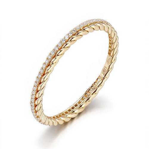 Diamond Braided Wedding Band
