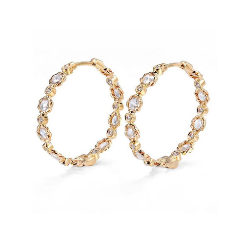 Rose Cut Diamond Hoops