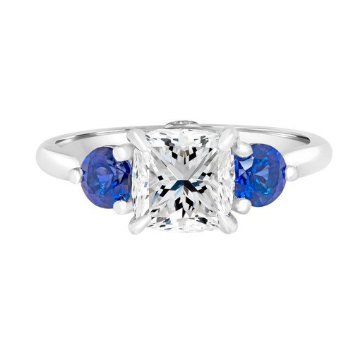 Cushion Diamond Engagement Ring with Sapphires