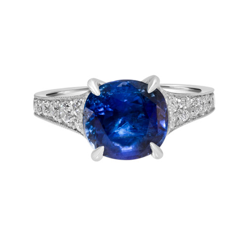 Round Blue Sapphire Engagement Ring
