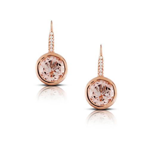 Morganite Round Drop Earrings