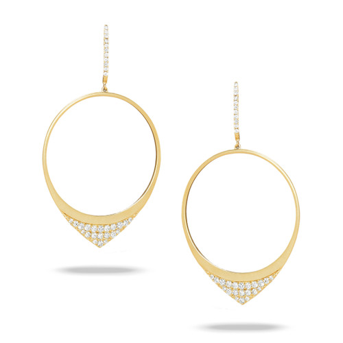 Gold Hoop Earrings with Diamonds
