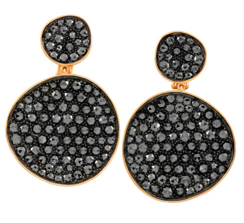 Black Diamond Large Disc Earrings