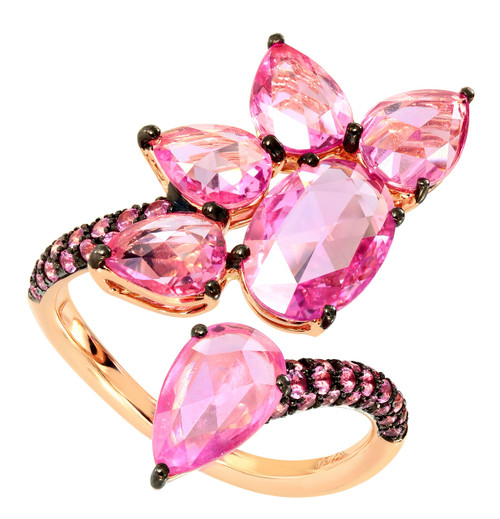 Pink Sapphire Floral Cocktail Ring