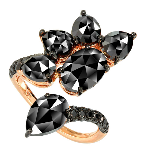 Black Diamond Floral Cocktail Ring
