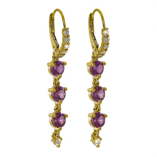 Pink Malaya Garnet Triple Drop Earrings