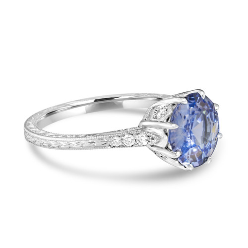 Light Blue Sapphire Vintage Style Ring - side view