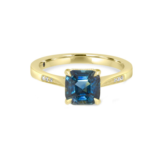 Cushion Teal Sapphire Ring in Yellow Gold