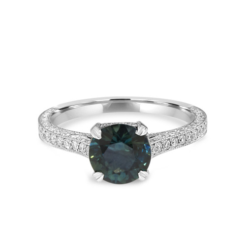 Platinum Teal Sapphire Ring Three Sided Pave