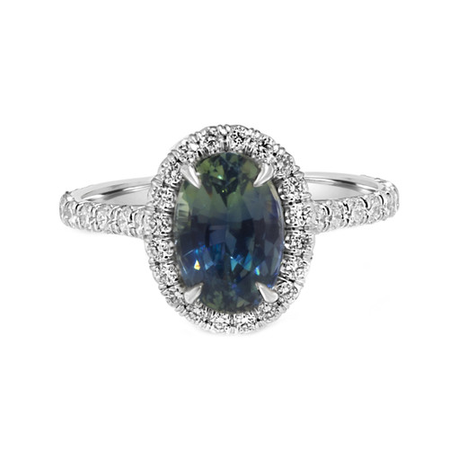 Oval Greenish Blue Bicolor Sapphire Engagement Ring