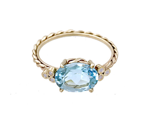 Blue Topaz Oval Twist Ring
