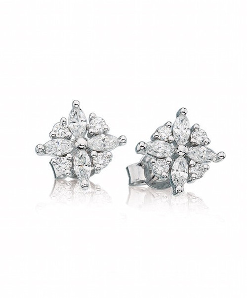 Marquise Floral Diamond Studs