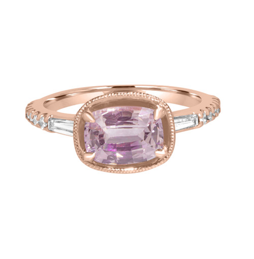 Oval Pink Sapphire Ring in Rose Gold