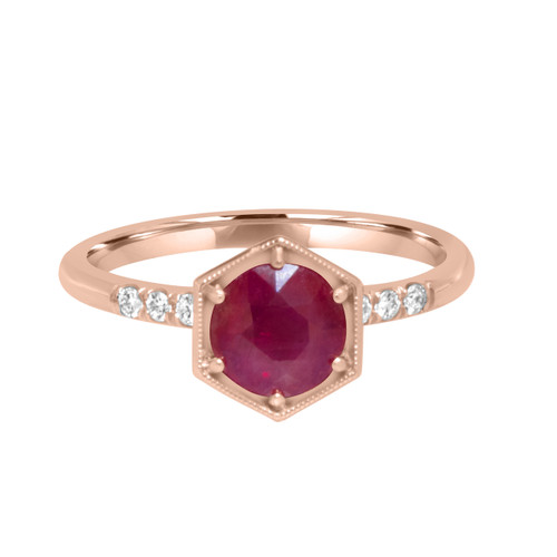 Hexagonal Ruby Ring in Rose Gold